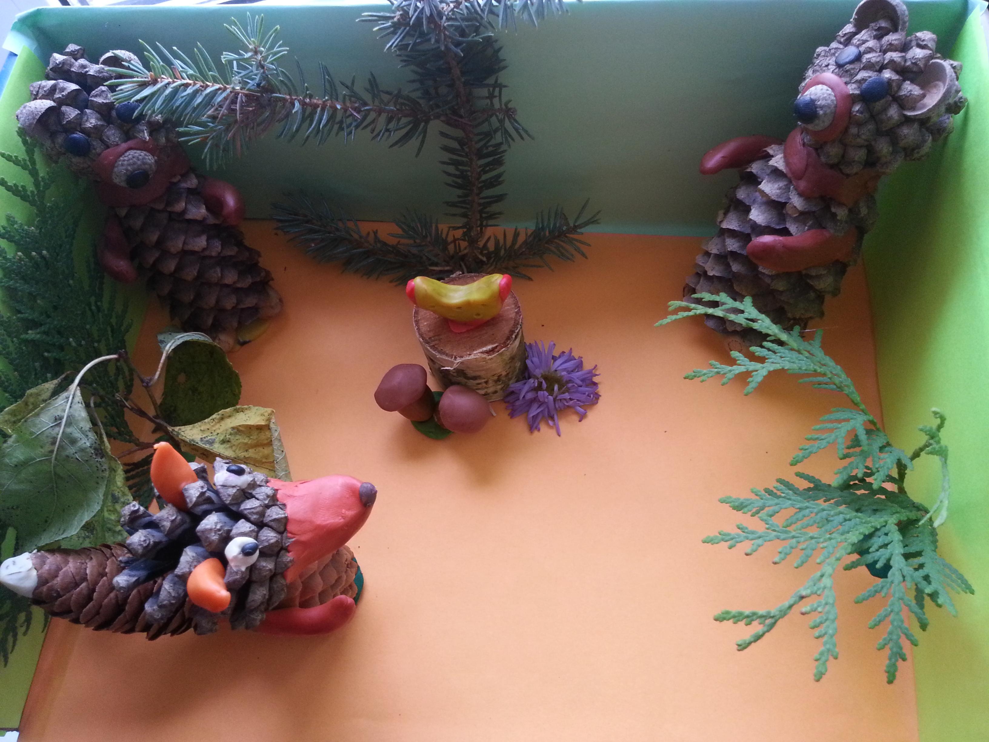 Поделки из шишек и пластилина в школу и детский сад для детей 5